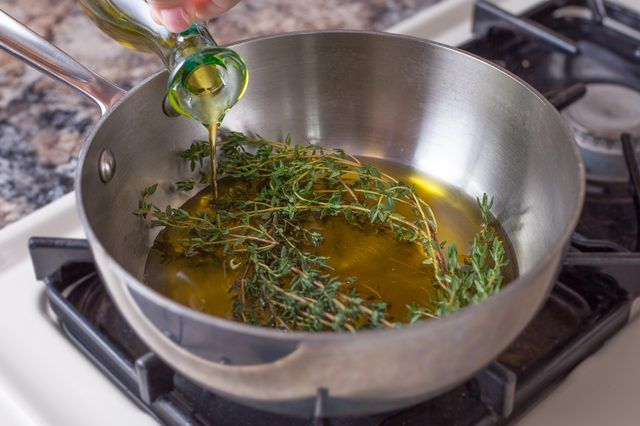 A little heat is all you need to harness the woodland essence of thyme and infuse it into the oil of your choice.  Infused oils are best used as a finishing ingredient, one reserved for drizzling over fresh baby greens or salumi. You can infuse any edible oil with herbs, but robust, aromatic oils, such as extra-virgin olive, overpower the mild...