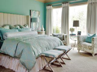 Dormitorios de color turquesa y blanco