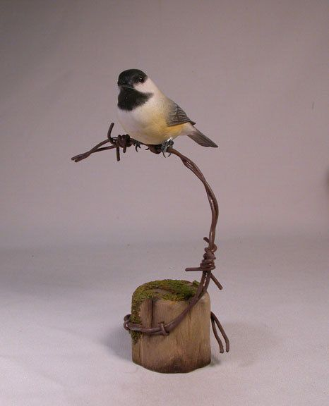 Black-capped Chickadee on barbed wire Hand Carved Wooden bird