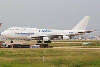 TransAVIAexport Cargo Airline Boeing 747-329(SF) EW-465TQ aircraft, parked at China Tianjin Binhai International Airport. 21/09/2016.