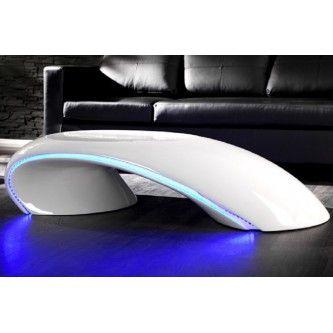 Table basse design à Led blanc laqué Apolon