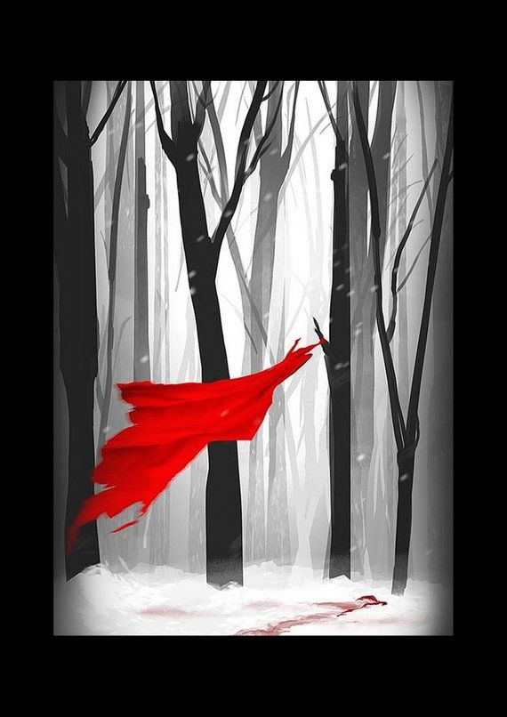 331eb002a Textured paper 300g matte, Red Riding Hood, the big bad wolf and le ...