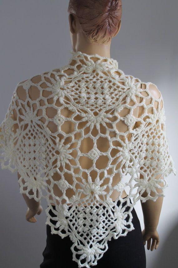 Cream Crochet  Lace Wedding  Shawl Capelet Shrug   by levintovich, $79.00