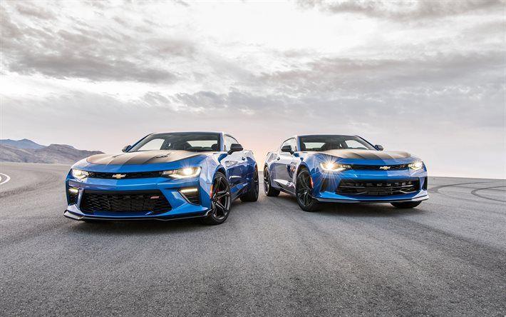 Chevrolet Camaro SS, 2016, blue Camaro, sports car, road