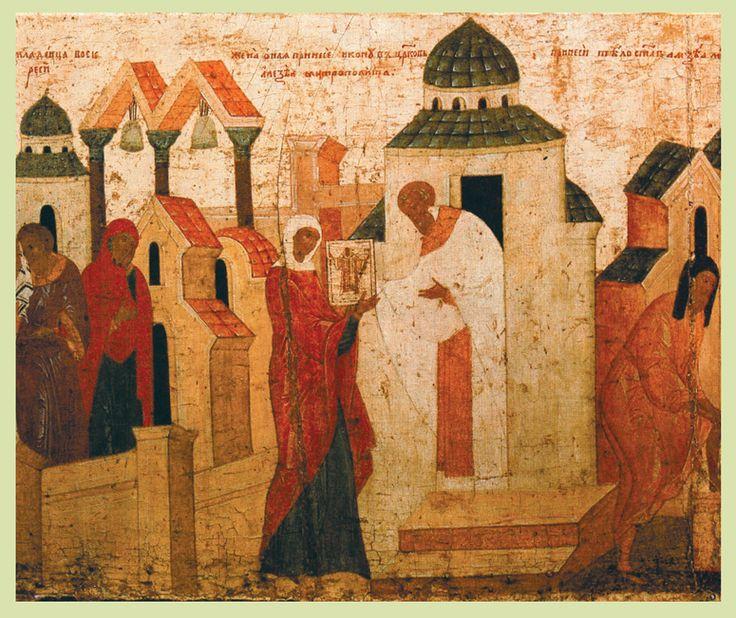 Конец XV в.  Дионисий.  Алексий Митрополит с житием. Клеймо. Чудо об умершем младенце