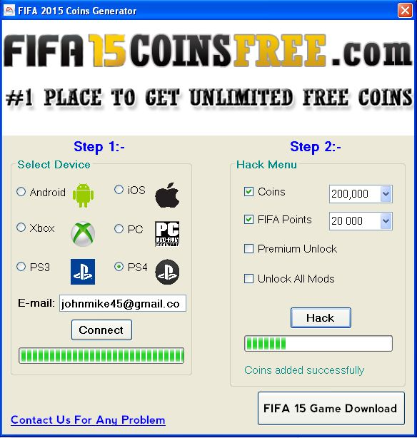 FIFA 15 coin generator made by our incredible persevering group , boundless coins creating capacity. This free of expense item real outline for Playstation 3, 4 , Xbox One , Xbox 360 , PC & Wii. This is completely secure and spurred item. Check it Out : http://www.fifa15coinsfree.com