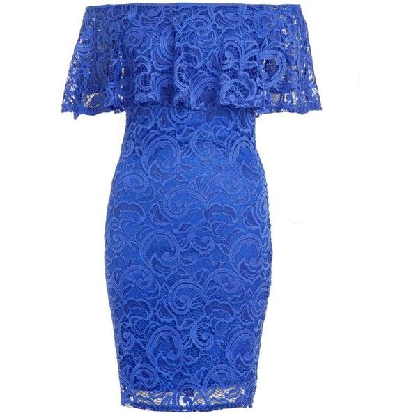 Dorothy Perkins **Quiz Blue Lace Bardot Bodycon Dress ($49) ❤ liked on Polyvore featuring dresses, blue, body conscious dress, blue dress, dorothy perkins dress, lacy dress and blue bodycon dress