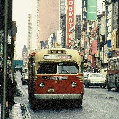 A TTC bus on Yonge Street in Toronto, 1970.