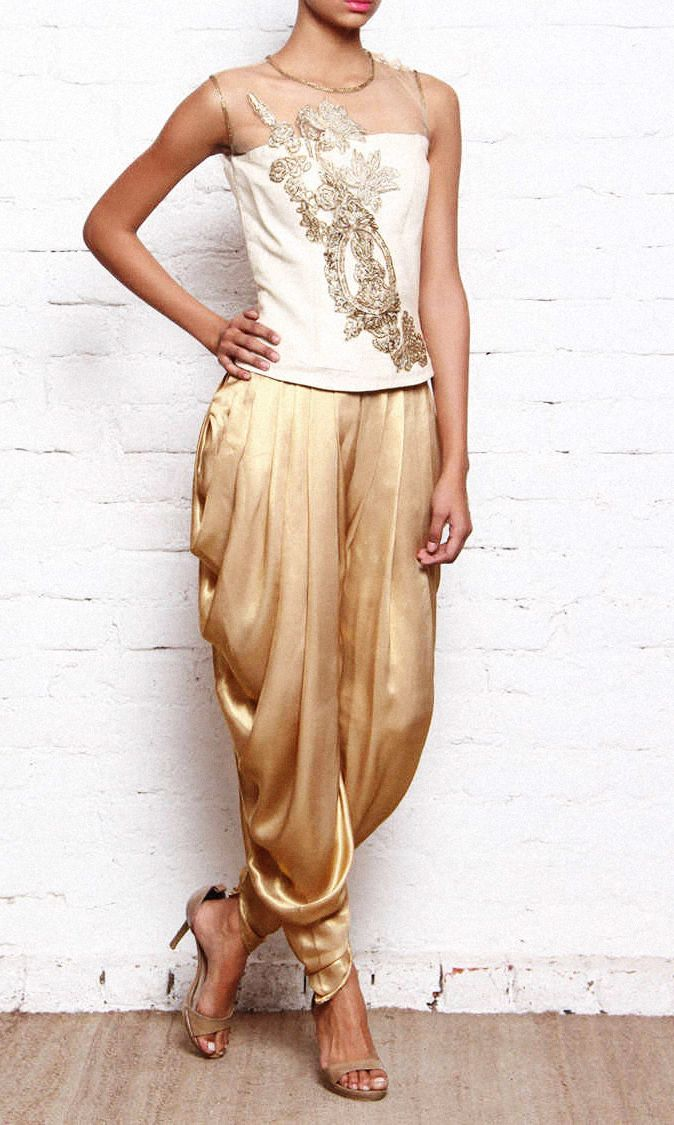 White Net Silk And Golden Georgette Shimmer Dhoti Preeti Singhal