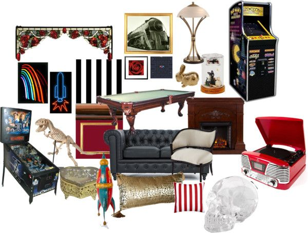 Eclectic game room ideas Hollywood Regency arcade vibe?