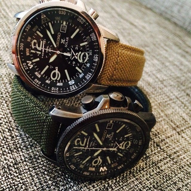 """""Seiko's stylish solar chronograph with khaki nylon straps a steel around $400."" -@tedstaffordgq #watchwednesday"""