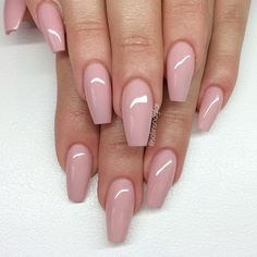 Pink Acrylic Short Square Full Set w/ Gel Top Coat or Solid Polish - Google Search
