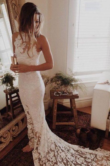 Romantic Boho Wedding Dresses,Mermaid White Dress, Princess Backless Lace Skirt Wedding Gowns