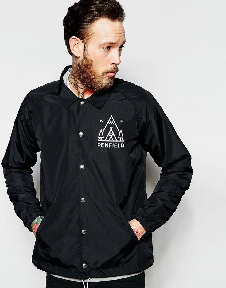 Image 1 of Penfield Coach Jacket with Peaks Graphic Showerproof in Black.  Estilo De SenderismoEntrenadoresAsos