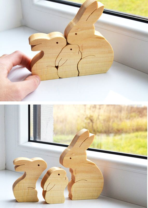 Easter Kids gifts bunny - Wood rabbit - Wooden Puzzle bunny - easter decorations - montessori toys - Kids gifts - rabbits family by LadyEvaDESIGN on Etsy https://www.etsy.com/uk/listing/257763286/easter-kids-gifts-bunny-wood-rabbit