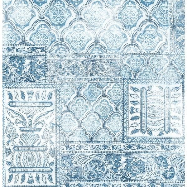 Nextwall Patchwork Vinyl Strippable Roll Covers 30 75 Sq Ft Nw35002 The Home Depot Peel And Stick Wallpaper Blue Vinyl Vinyl Tile