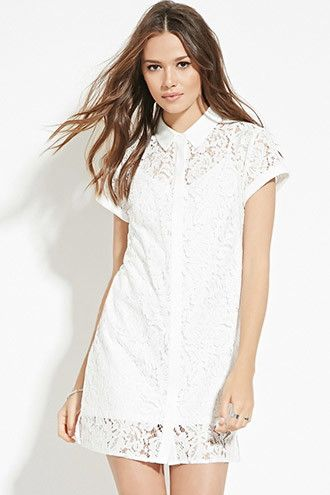 Contemporary Floral Lace Shirt Dress | Forever 21 - 2000183583