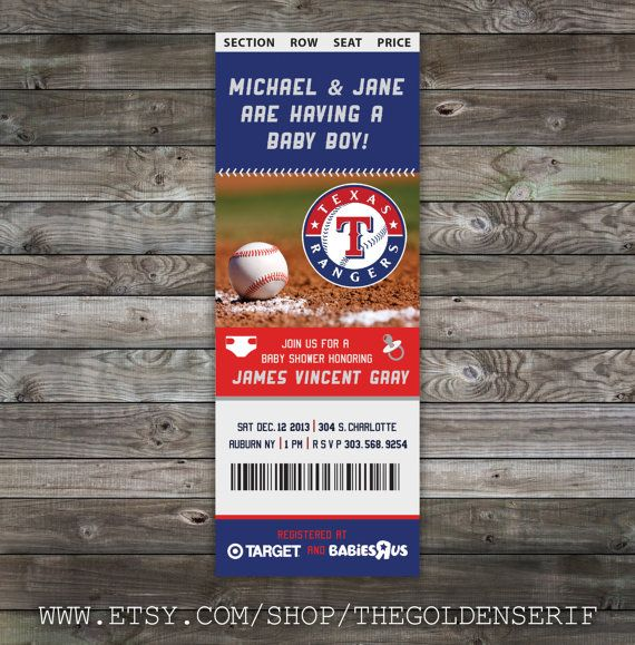 What do you think about these for the invitation?! Printable Baseball ticket Baby Shower Invitation