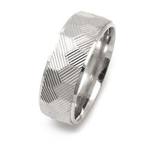 Silver Pattern Wedding Ring
