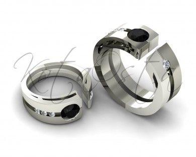 Оригинальные дерзкие обручальные кольца с черными бриллиантами KO-OKB30G