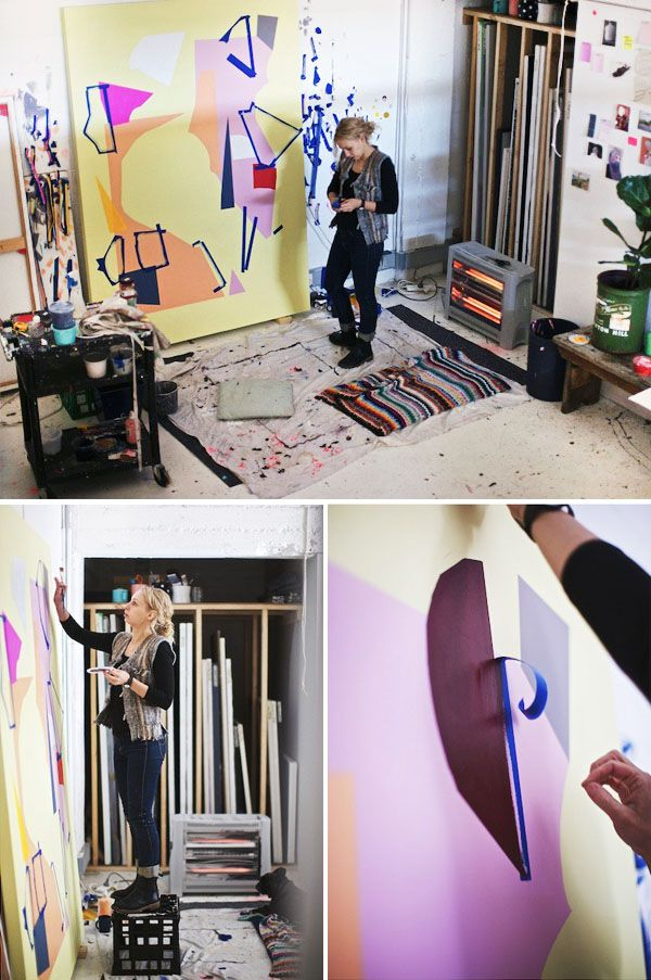 Kirra Jamison works on paintings for her upcoming show – photographs by Paul Barbera (see the full studio visit here!)