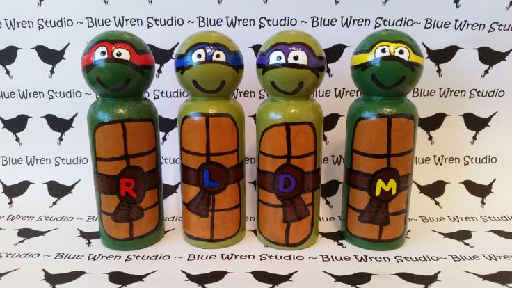 Wooden Peg Dolls - Ninja Turtles (Set of 4) by bluewrenstudios on Etsy