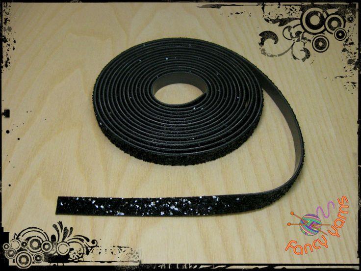 1 metro, nastro con glitter nero, mm.10 di Fancy yarns su DaWanda.com