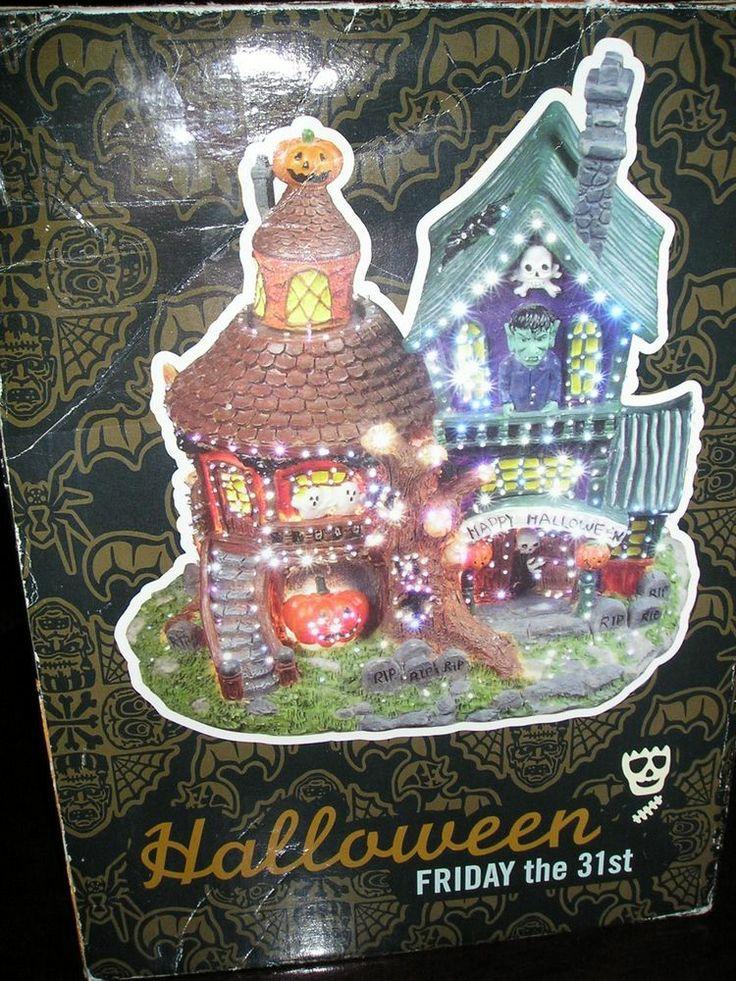 Fiber optic halloween haunted house turning pumpkin for Fiber optic halloween decorations home