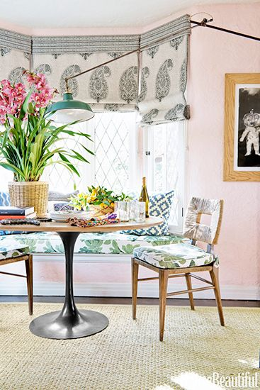 6 Ideas For Decorating a One-Bedroom // dining table, Peter Dunham, fabric, paisley, shades, sisal rug