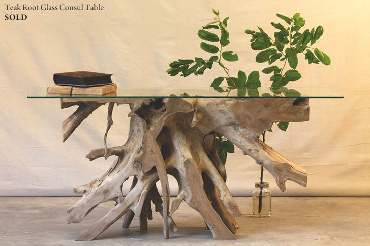 Hunt and Lane | a top shelf furniture company | Solid Teak Root Console Table With Fitted Glass Top | Wood | Java Indonesia | tropical living | organic, sustainable furnishings and interiors for your home.