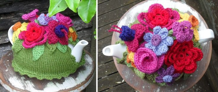 Make tea time more fun with this spring explosion knitted tea cozy. Cover your tea pot in bursts of color with this knitted tea cozy. FREE pattern here ...