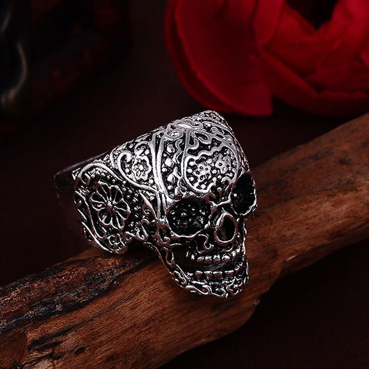 Hot Men's Engraved Skull Biker Ring //Price: $8.99 & FREE Shipping //     #skull #skullinspiration #skullobsession #skulls