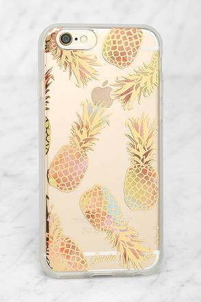 The Sonix Liana Peach Pineapple iPhone 6 and 6s Case is dedicated to the one you love - your iPhone! This clear plastic case has a peach and metallic gold pineapple print, plus shock-absorbent rubber sides, and access to all ports. Fits iPhone 6 and 6s.