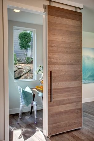 Modern Home Office with Modern Beech Horizontal Plank Barn Door, Retro Design Chair Louis XV, Hardwood floors, Barn door