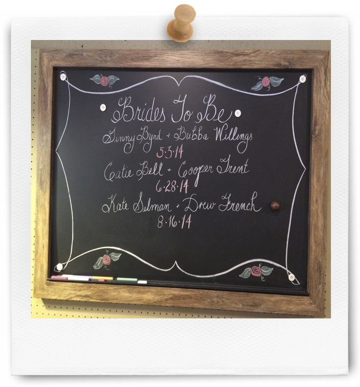 Here is a chalkboard we built for a kitchen store...they used it to post upcoming weddings and to let their customers know who in their community is tying the knot...