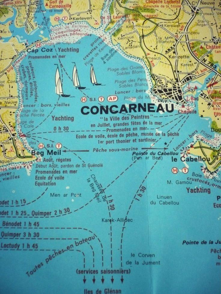 Plan - carte routière vintage - La Côte de Cornouailles ...
