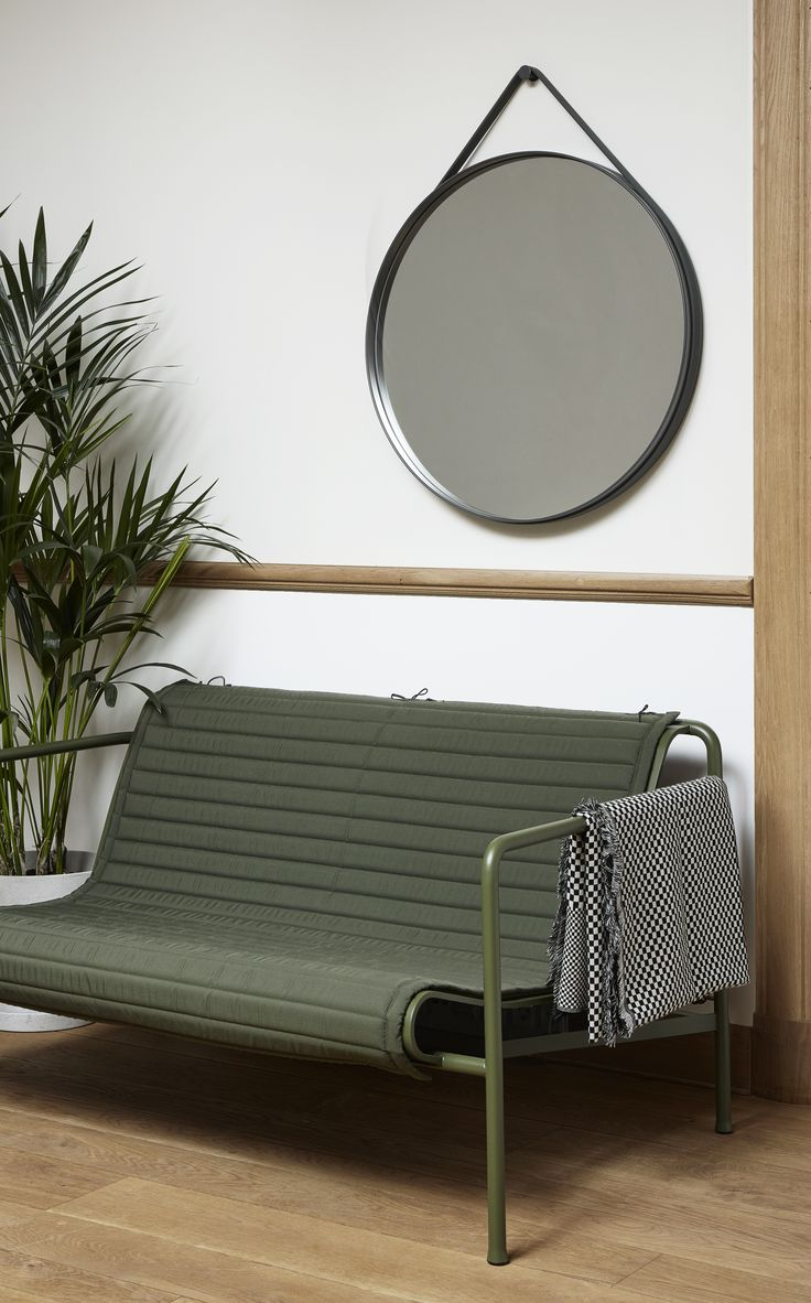 Strap Mirror, Palissade bench with cushion and Checked out plaid.