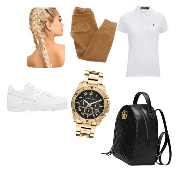 """""""Uniform for school idea #2💖"""" by baddieoutfitss on Polyvore featuring Polo Ralph Lauren, Current/Elliott, Gucci, NIKE and Michael Kors"""