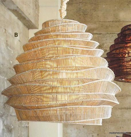 Roost Bamboo Cloud Chandelier use traditional bamboo weaving techniques to create pendant lighting. Nimbus and Cumulus. Eco-friendly bamboo weaving.