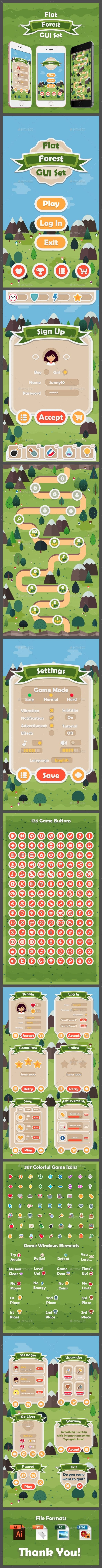 #Flat Forest Game User Interface Set - User Interfaces #Game #Assets