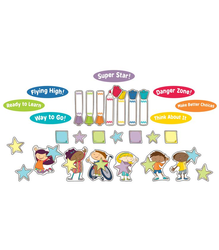 Bring your classroom to life and make behavior management fun with the spunky new Carson Kids Behavior Bulletin Board Set. Includes 64 total pieces; 6 kids, 7 markers, 7 text overlays, 14 stars and 30 notepad accents. This bright and unique Carson Kids design is sure to be a hit with your students while keeping the classroom fun and engaging.