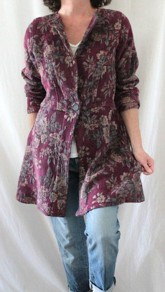 Soft Surroundings L Sleeve Long One Button Tapestry Coat Purple Sz M/S…