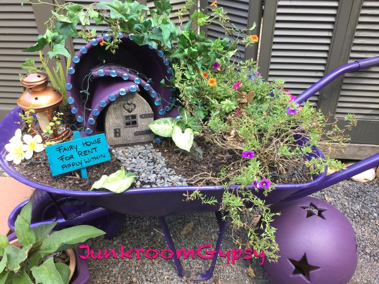 Fairy Garden My Upcycled Wheelbarrow @junkroomgypsy