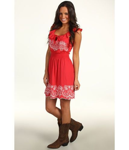 ROCK N ROLL COWGIRL Coral Dress Peasant Embroidery Western NWT XL $69 retail our prices are WAY BELOW RETAIL! baha ranch western wear ebay seller id soloedition www.baharanchwesternwear.com