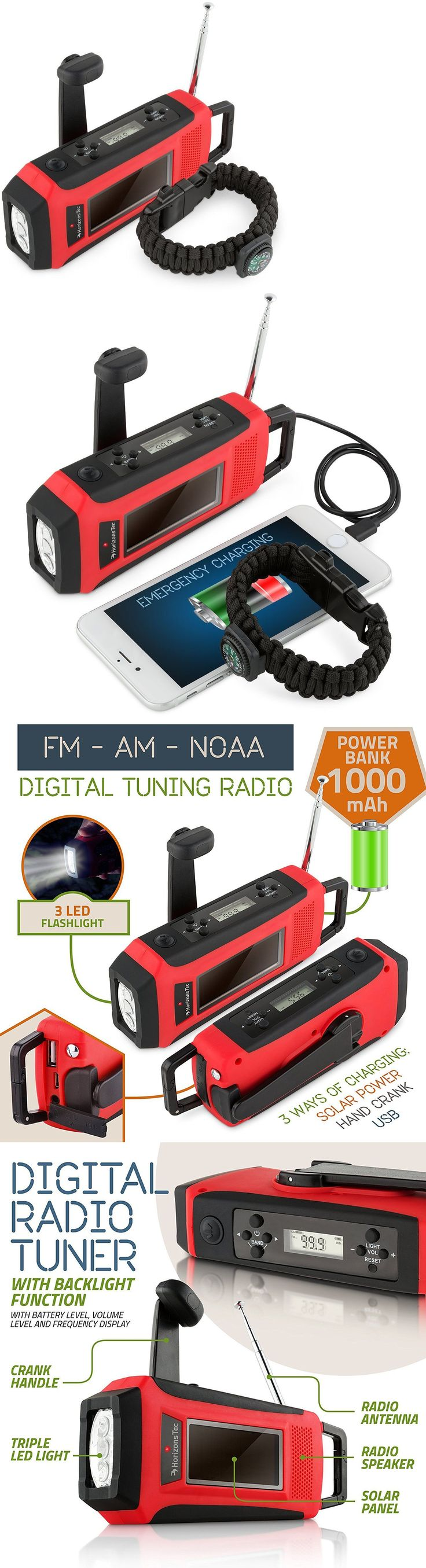 Portable AM FM Radios: Emergency Solar Hand Crank Noaa Weather Radio Led Flashlight Charger Powered Mob -> BUY IT NOW ONLY: $31.95 on eBay!