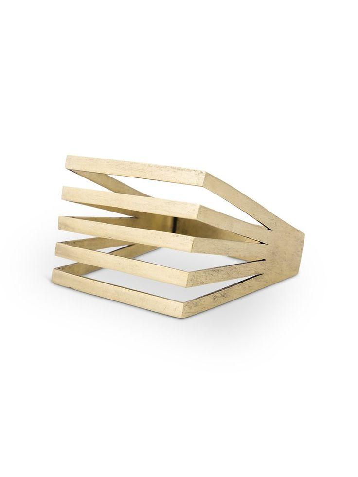 Solid Brass Geometric Square Bangle