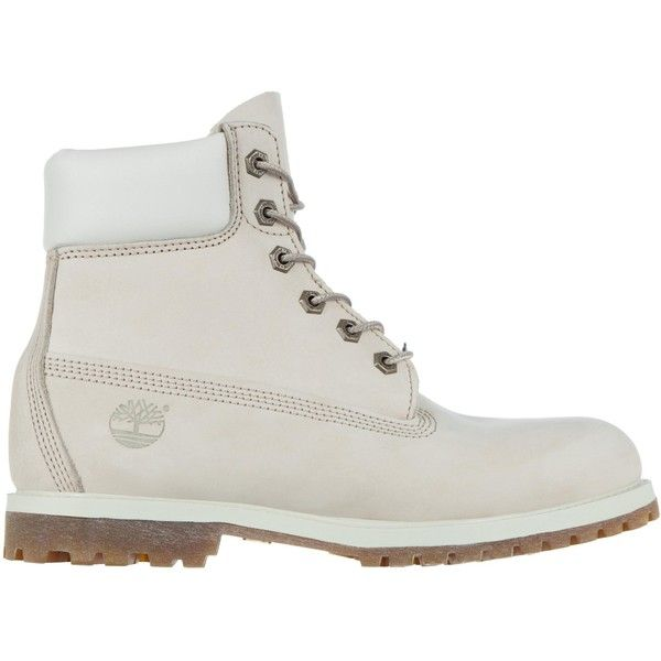 """Timberland 6"""" Premium Boots ($130) ❤ liked on Polyvore featuring shoes, boots, timberland, winter white, women, ivory shoes, synthetic shoes, genuine leather shoes, faux-fur boots and timberland shoes"""