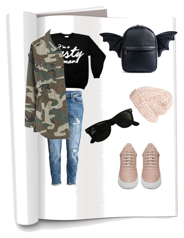 """""""Untitled #27"""" by evachrisomalli-1 on Polyvore featuring H&M, Filling Pieces, Current Mood, Ray-Ban, MANGO and Free People"""