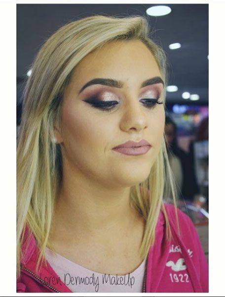 Makeup by Benefit Counter Manager Loren in our Fairgreen store.  Soft shades of pinks and purples with a pop of glitter 💕 #makeup #contour #highlight #mua #stila #benefit #sammccauleys