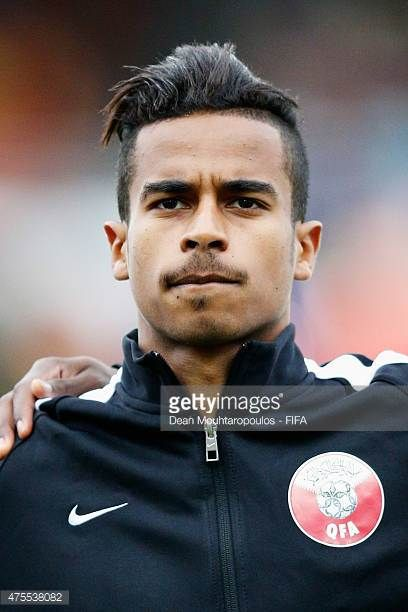 Akram Afif of Qatar stands for the national anthems prior to the FIFA U20 World Cup New Zealand 2015 Group C match between Qatar and Colombia held at...